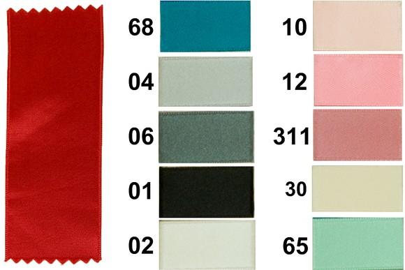 Satinbånd, blå-turkis-lyserød, 6 mm bredde