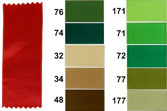 Satinbånd, grøn-brune nuancer, 16 mm bredde