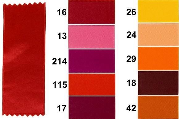 Satinbånd rød, gul og orange 40 mm bredde