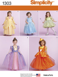 Kjoler, prinsessekjole til småbørn. Simplicity 1303.