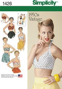 BH toppe retro 1950er stil. Simplicity 1426.