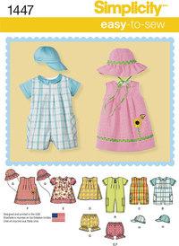 Simplicity 1447. Babytøj og hatte.