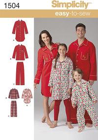 Nattøj, pyjamastøj. Simplicity 1504.