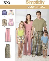 Bukser og shorts, nattøj, pyjamastøj. Simplicity 1520.