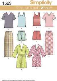 Nattøj, toppe, t-shirts, natbukser. Simplicity 1563.