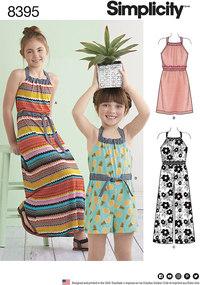 Halter-kjole eller buksedragt i to længder til piger. Simplicity 8395.