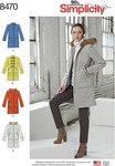 Simplicity 8470. Foeret frakke med krave eller hætte og pocketvariationer.