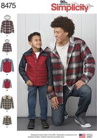 Bluse og skjorte-jakke til mænd og drenge. Simplicity 8475.