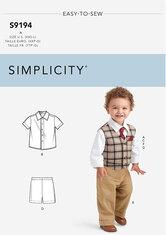 Børnevest, Bluse og skjorte, Shorts, Bukser. Simplicity 9194.