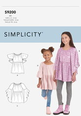 Toppe til børn og piger. Simplicity 9200.