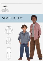 Bluse og skjorte, vest og Pull-on bukser. Simplicity 9201.