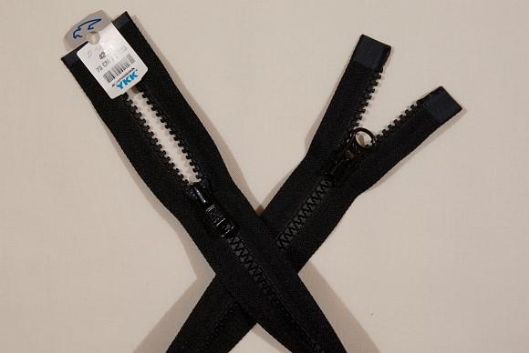 Sort jakkelynlås, 2-vejs-delbar, plast, 6 mm bred, 70 cm lang