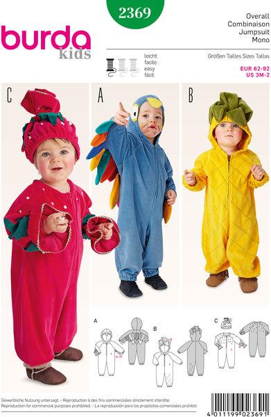 Fugl, ananas, jordbær, overalls, hætte, hat
