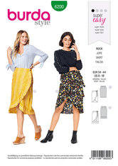 Slå-om nederdel, taljebånd eller bindebånd. Burda 6200.