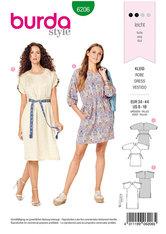 Casual kjole med raglanærmer og snørre i talje. Burda 6206.