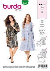 Kjole med Knap-lukke, skjorte-bluse stil, v-hals. Burda 6237.