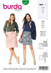 Nederdel, klokkeformet nederdel, uden taljebånd, med bælte. Burda 6241.