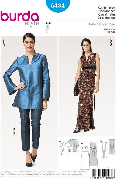 Skjortebluse, bukser, kjole