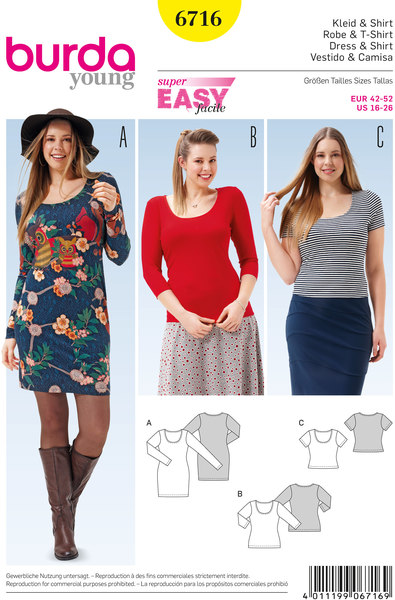 Bluse,kjole,  rund halsudskæring