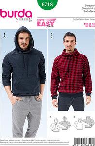 Herre pullover, hoodie, raglanærmer. Burda 6718.