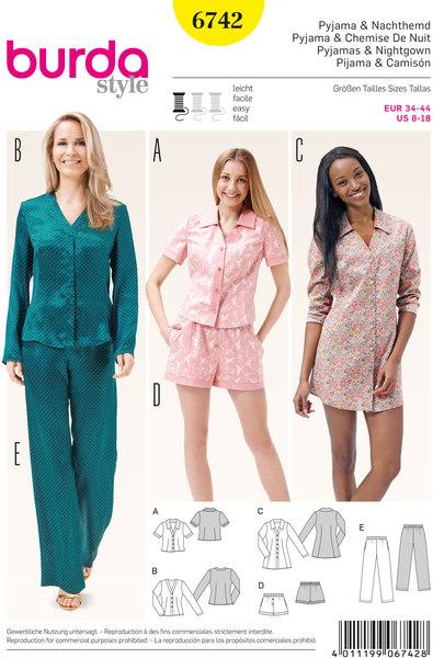 Pyjamas, natbluse, shorts, bluse, tunikatop