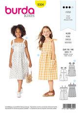 Pinafore kjole med forsideknap, samlet nederdel. Burda 9304.