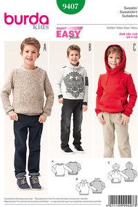 Sweater, pullover, hættetrøje. Burda 9407.