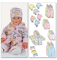 Infants Jacket, Overalls, Pants, Hat og Mittens. Butterick 5584.