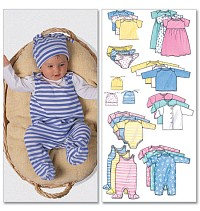 Infants Jacket, Dress, Top, Romper, Diaper Cover og Hat. Butterick 5585.