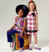 Pige top, kjole, shorts, bukser og taske. Butterick 5776.