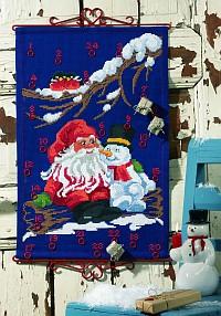 Blå julekalender med nissemand og snemand. Permin 34-9251.