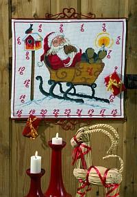 Hvid julekalender med Julemanden i kane. Permin 34-9252.