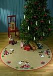 Permin 45-9242. Rundt juletræstæppe med søde engle.