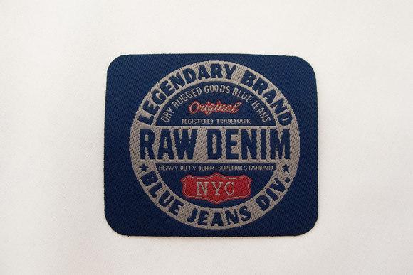 Raw denim marine strygemærke 6x7cm