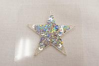 Sølv paillet stjerne Ø3cm