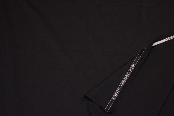 Sort eller mørk marine stretch-gabardine Royal i uld og polyester