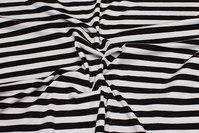 Tværstribet bomulds-jersey i sort og hvid