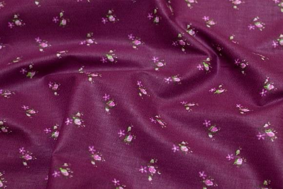 Aubergine bomuld med små rosa blomster