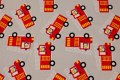 Lys grå bomuldsjersey med røde brandbiler