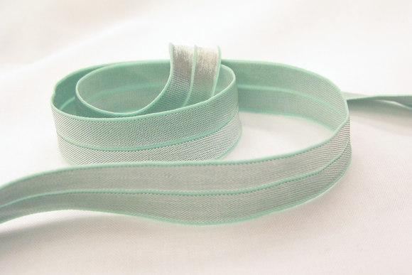 Elastikkantebånd, mint/sølv 2cm