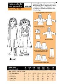 Trøje, nederdel, vest, gamache. Onion 20033.