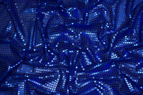 Coboltblå paillet-stof, i flot let kvalitet