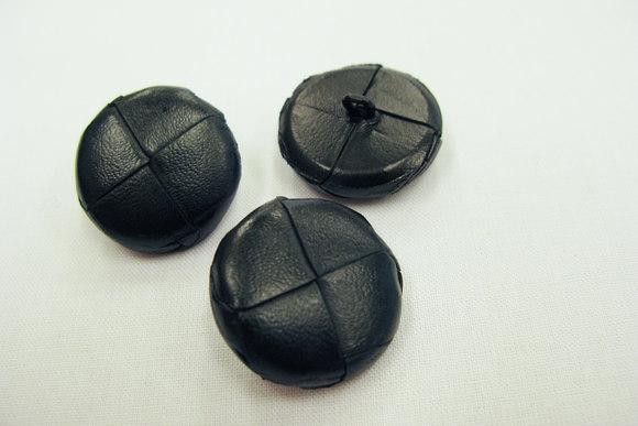 Flettet læderknap sort og brun 2,5 cm