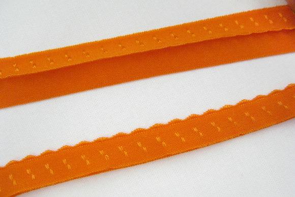 Foldeelastik med tungekant orange 1cm