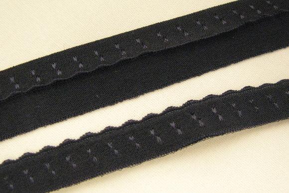 Foldeelastik med tungekant sort 1cm