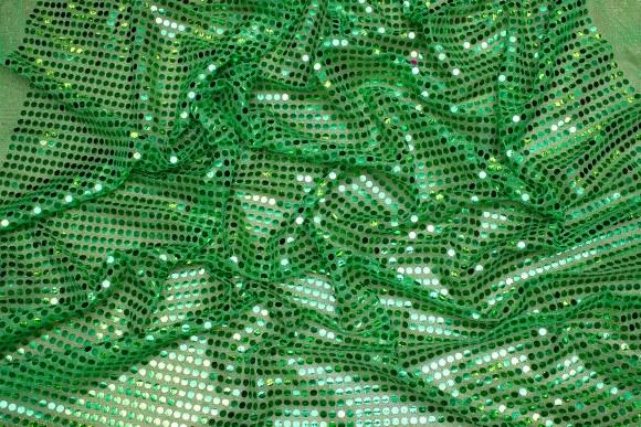 Grøn paillet-stof, i flot let kvalitet