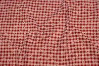 Rød og hvid ternet bomuld og polyester med margueritter