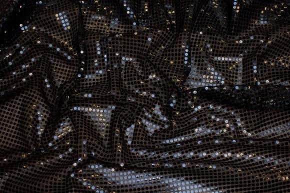 Sort paillet-stof, i flot let kvalitet