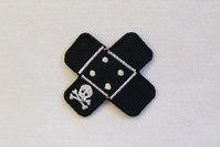 Sort piratplaster strygemærke 5 x 5 cm