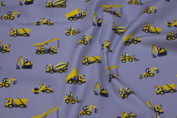 Grå, vævet bomuld med gule gravemaskiner